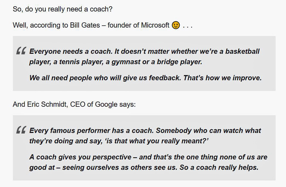 Bill Gates Eric Schmidt recommend have a coach